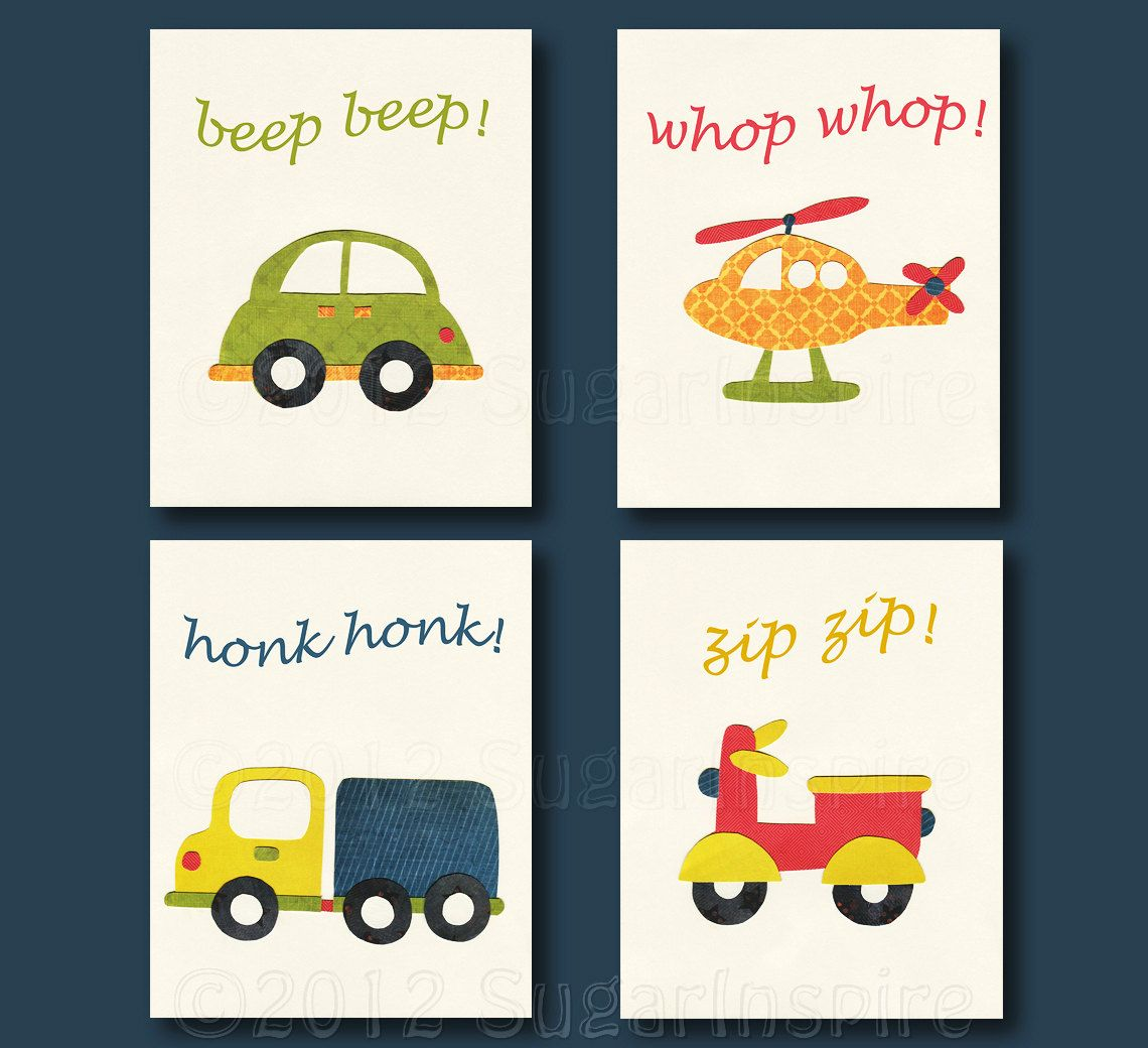 transportation nursery art print set kids room by sugarinspire - Prints For Kids