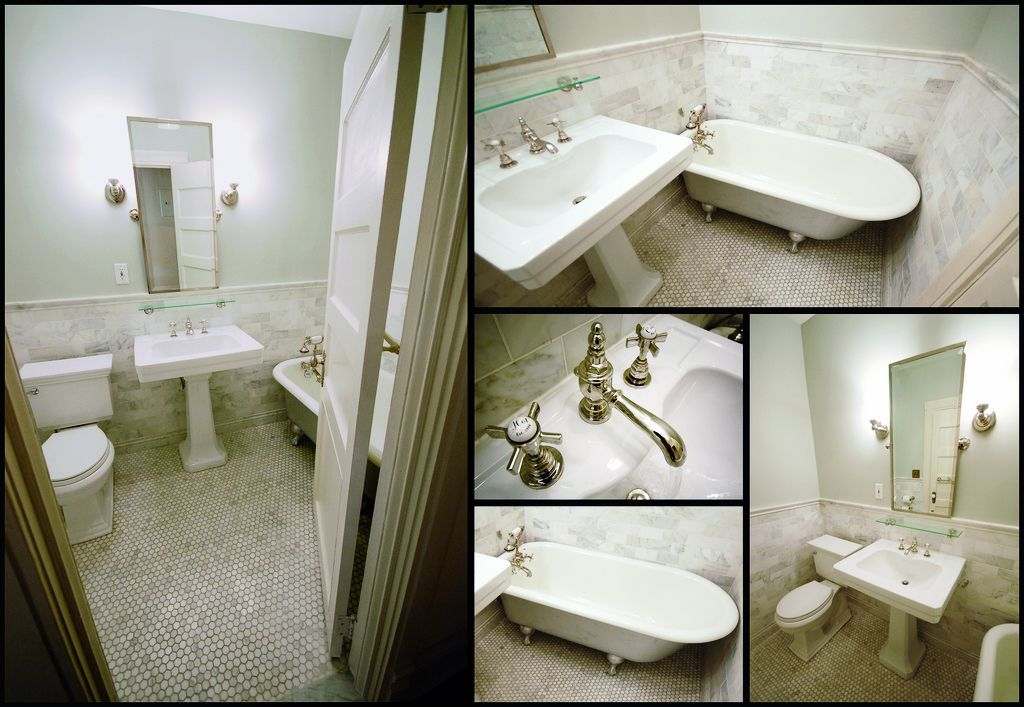"""floor, sink    Here are the specs in case you're interested: -tiles are carrera marble - hex on the floor, subway on the wall -paint is Benjamin Moores """"gray owl"""" (which actually looks a tiny bit green) -the toilet is a Kohler Memoir -sink & faucet is Porcher -mirror, lights & shelf from pottery barn"""