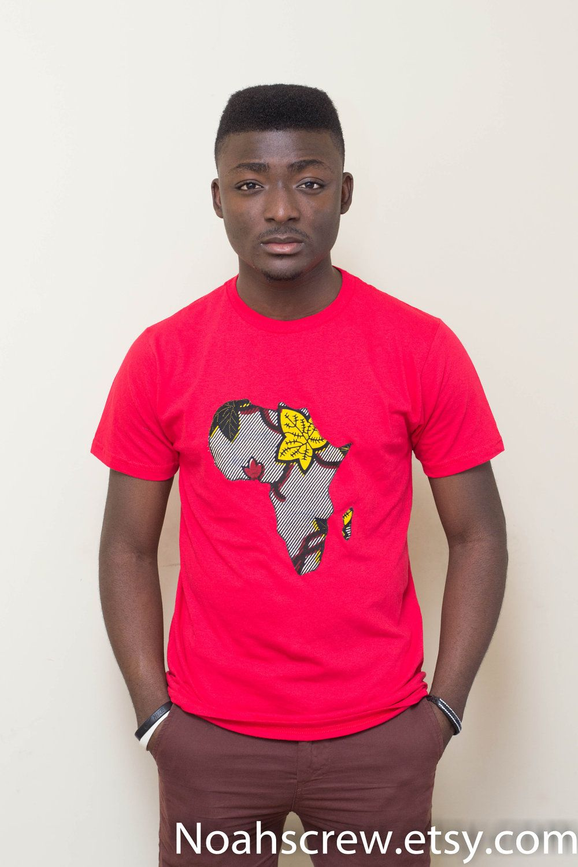 f087c3d6e18 Afrika  Ankara African wax print Africa continent Red t shirt