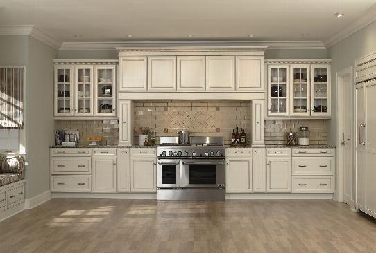 kitchen cabinets antique white cabinets neutral tile backsplash kitchen makeover pinterest. Black Bedroom Furniture Sets. Home Design Ideas