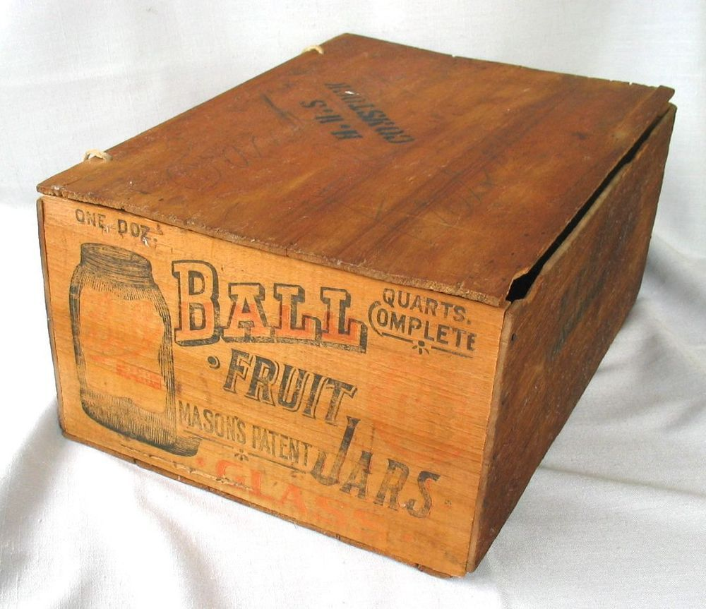 Scarce Antique Wood Triple L Ball Mason Jar Shipping Crate Box