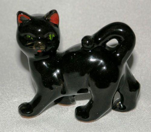 "Vintage retro 1960s JAPAN gloss black cat figurine 3⅛"" (8cm) kitsch hand-painted"