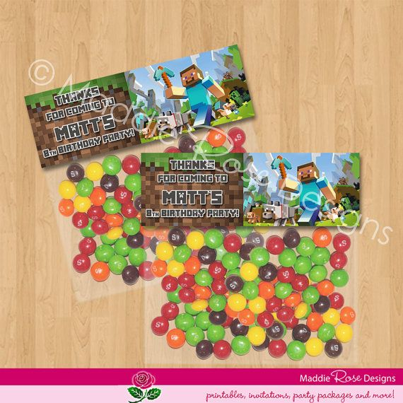 Minecraft Party Favor Bag Toppers - Personalized Printable for Treat
