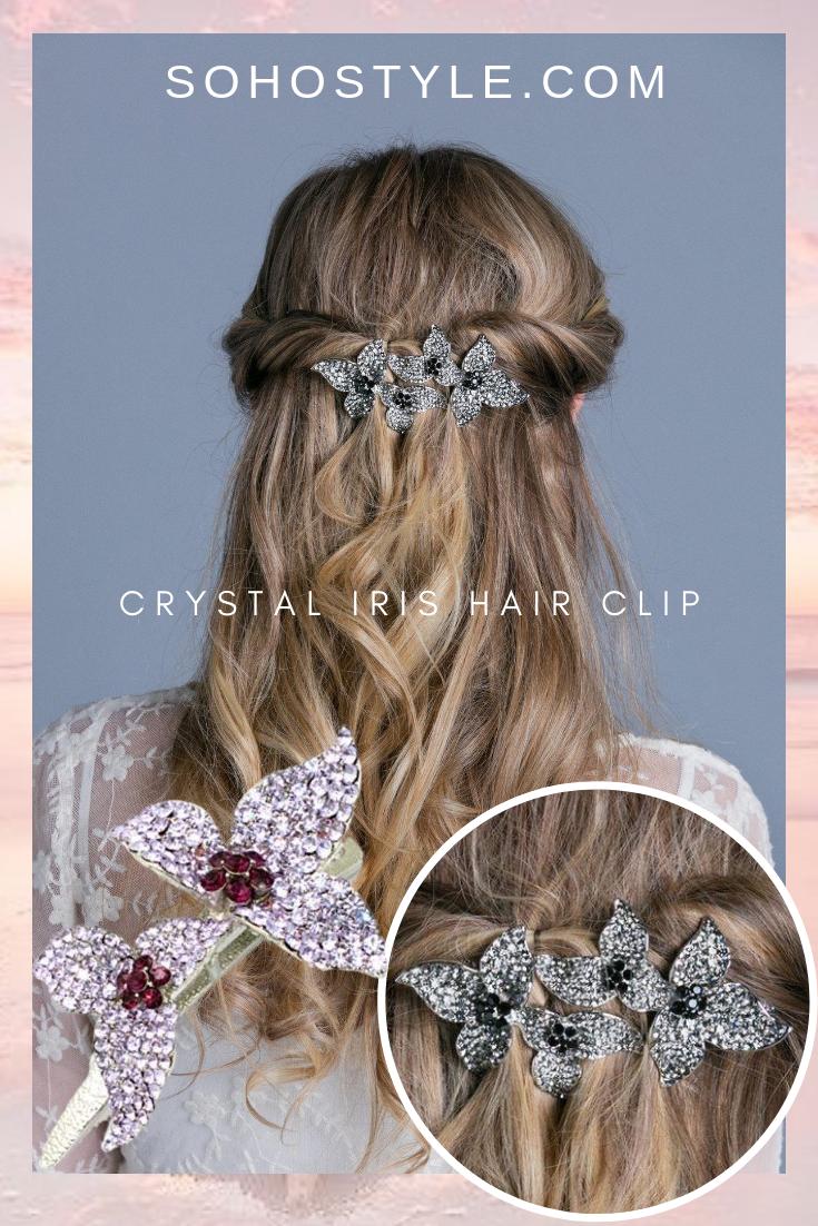 Crystal Iris Hair Clip Hair Clips Luxury Hair Extensions Luxury Hair