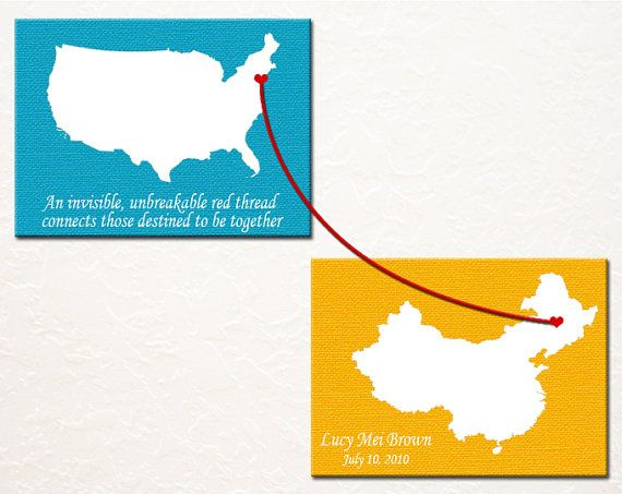 An Adoption Story - custom made with hand painted hearts on maps of the child's birth and adoptive countries.  #adoption