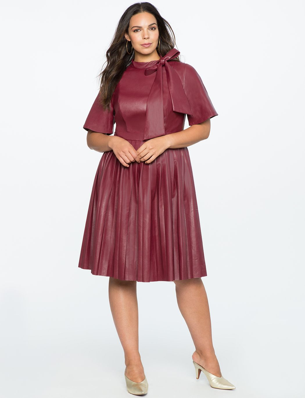 0a7f240b7b6 Faux Leather Tie Neck Dress CORDOVAN