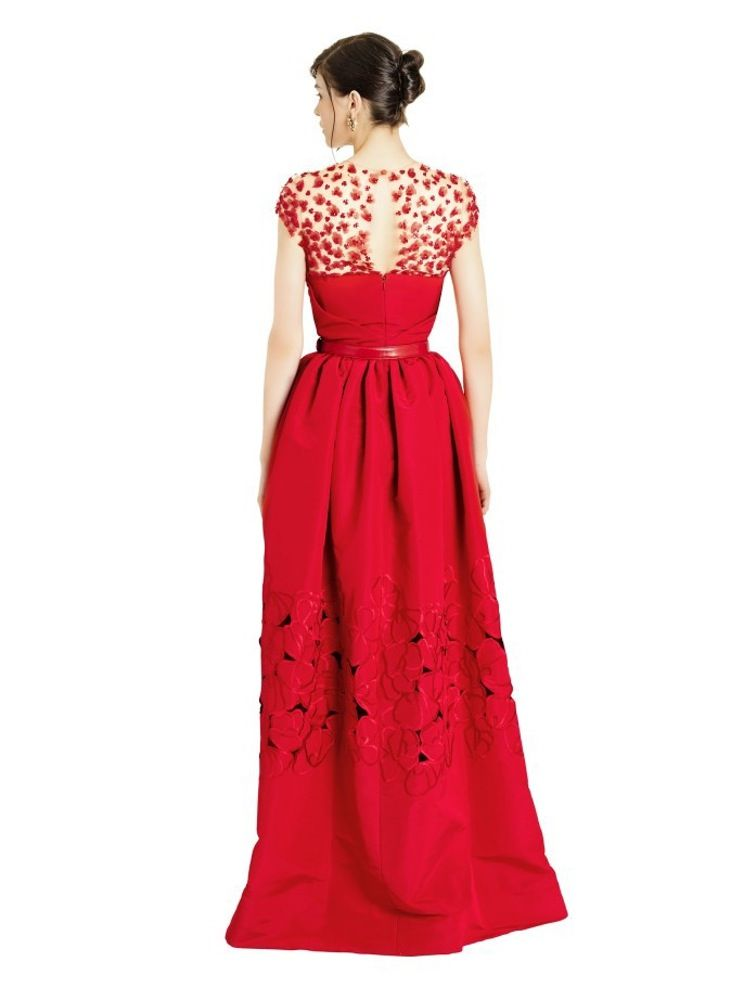 Embroidered Décolletage & Floral Cutout Silk Faille Gown by Oscar de la Renta   Spring - Free Shipping. On Everything
