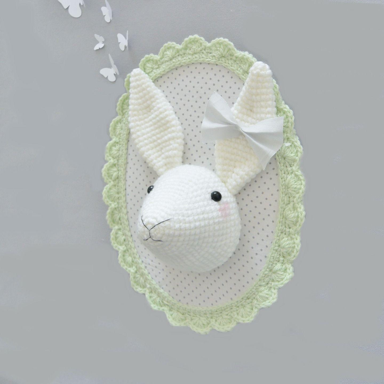 Troph e lapin vert clair blanc au crochet d corations murales par ligne retro troph e - Decoration au crochet ...