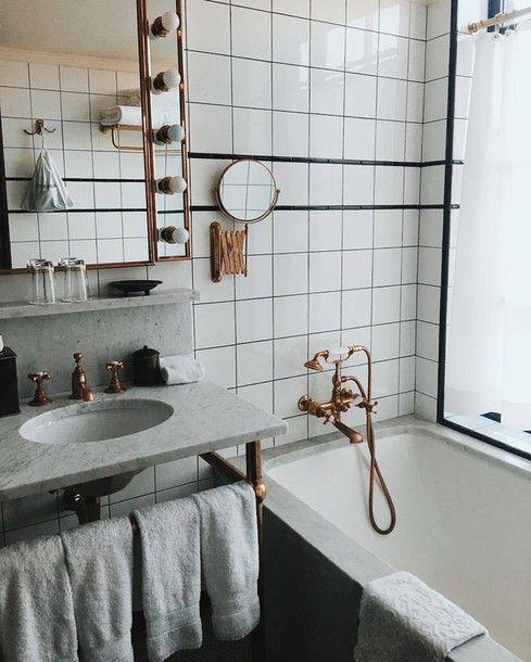 home accessory tumblr bedroom mirror bathroom marble copper