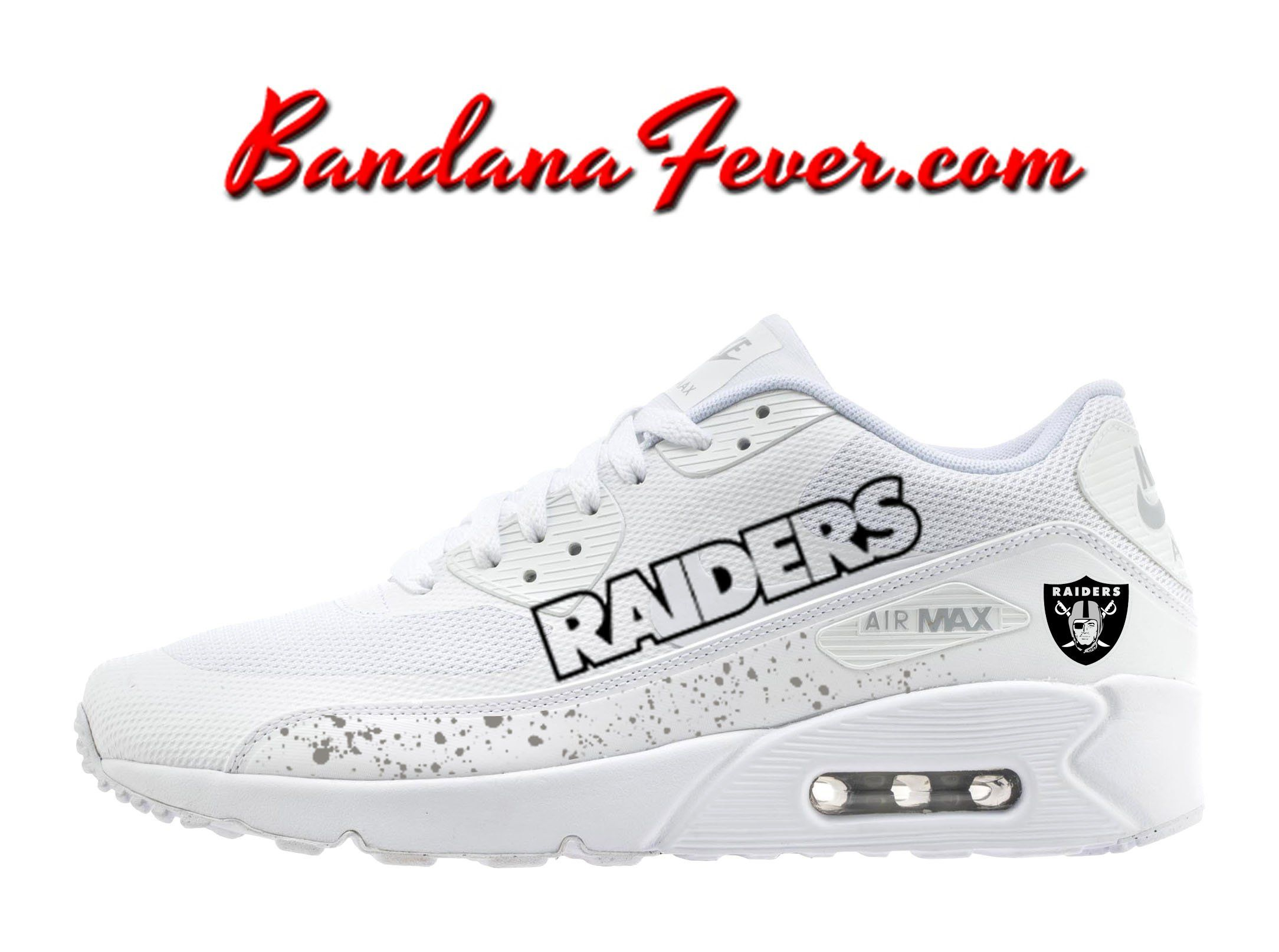 Custom Raiders Nike Air Max 90 Shoes Ultra White a189c26d5