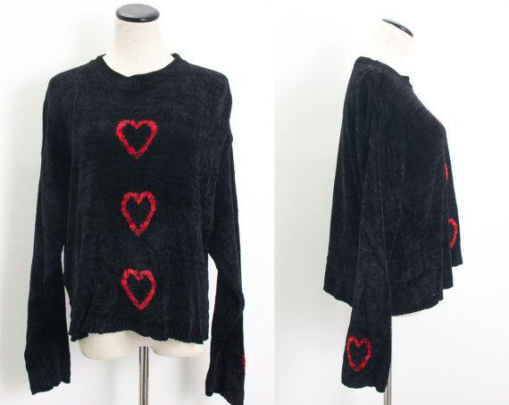 VTG 80's Heart Breaker Slouchy Sweater (Medium / Large) Oversized Black Chenille Knit Long Sleeves Goth Red Hearts Vintage Sweater 80s 1980s