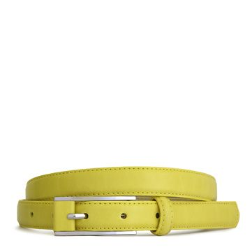 Lodis Audrey Thin Inset Leather Buckle Pant Belt in Citron