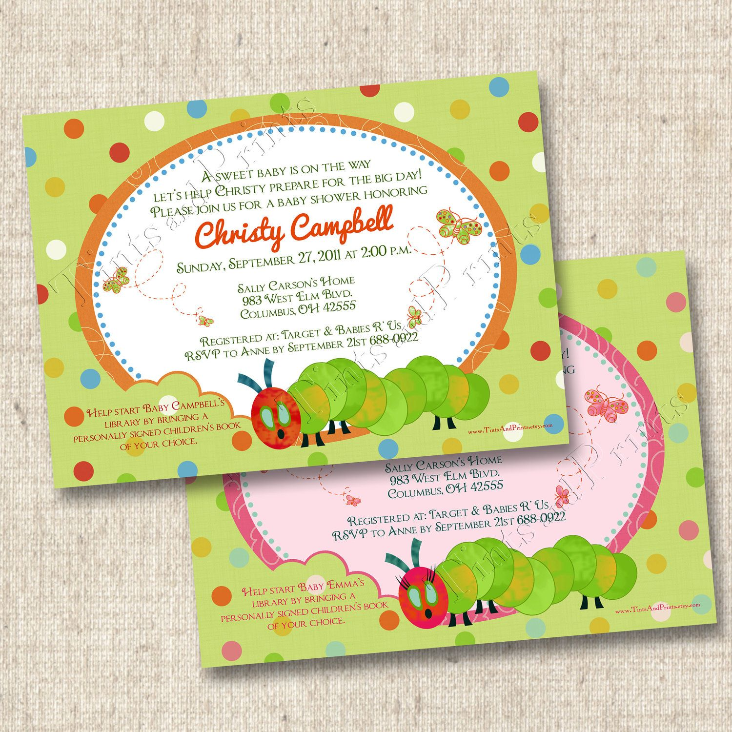 A Hungry Caterpillar Baby Shower invites by TintsAndPrints ETSY ...
