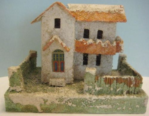 Old-Cardboard-Candy-Container-2-Story-House-for-Christmas-Putz-Village-NICE