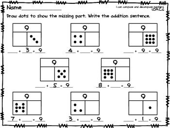 Part Part Whole Missing Addend Common Core Math Work