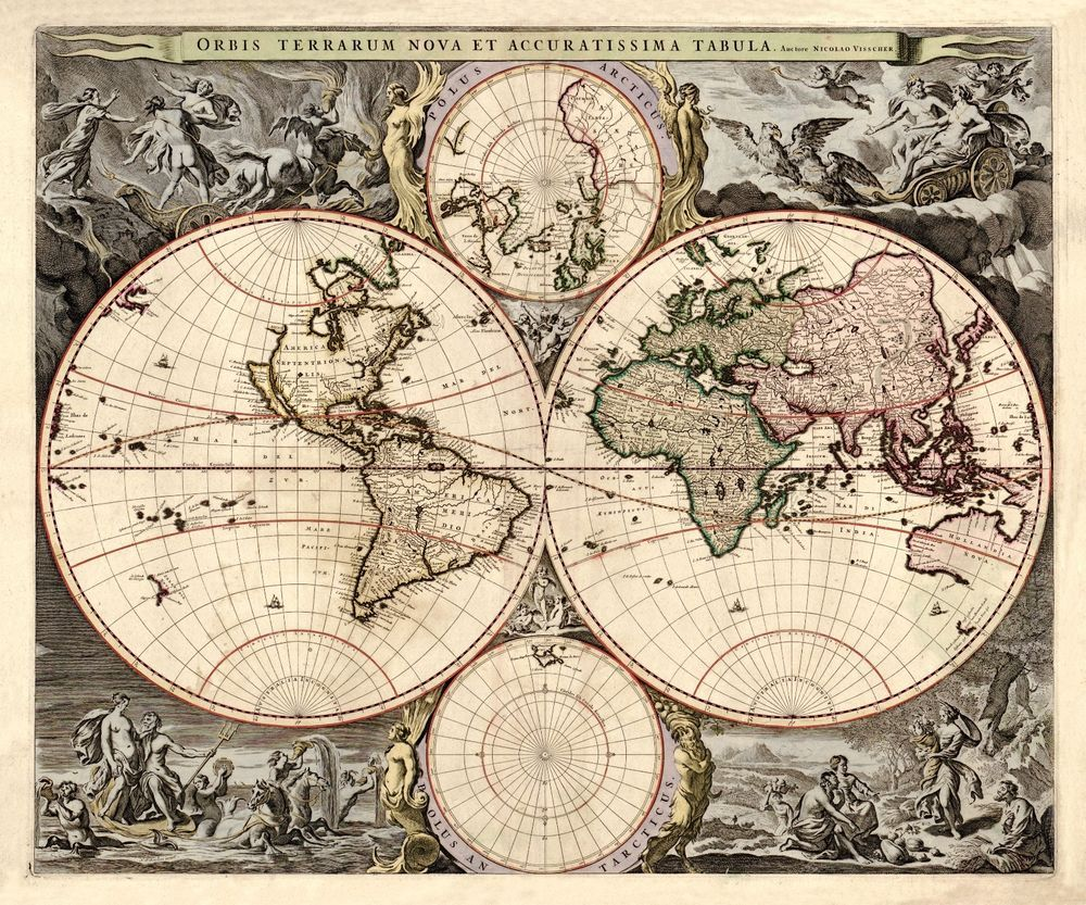 1690 old world map antique beautiful art america europe 1690 old world map antique beautiful art america europe australia gumiabroncs Choice Image