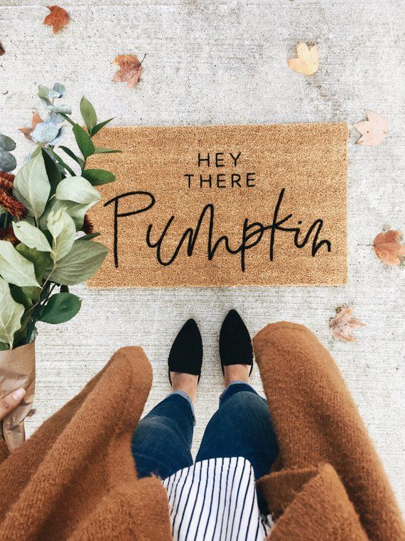 THE ORIGINAL hey there pumpkin | fall decor | hello welcome mat | hand painted, custom doormat | cute doormat | outdoor doormat | Black Frid #falldecorideasfortheporchoutdoorspaces