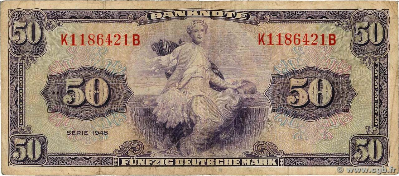 50 Deutsche Mark GERMAN FEDERAL REPUBLIC 1948 Банкнота и