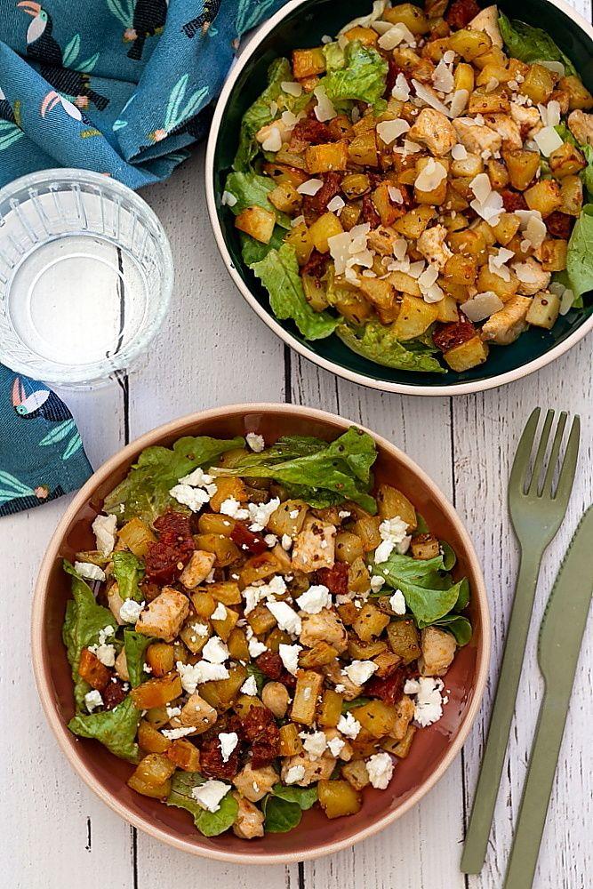 Salade de pommes de terre rôties, chorizo, poulet et ...