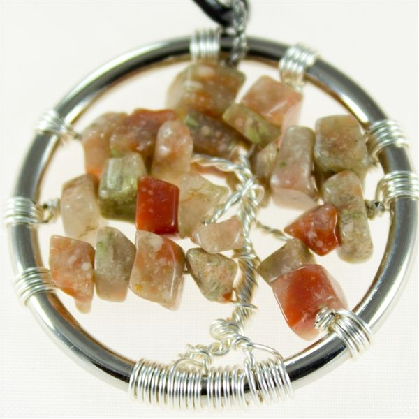 Autumn Jasper Tree of Life pendant with leather necklace  $35.00