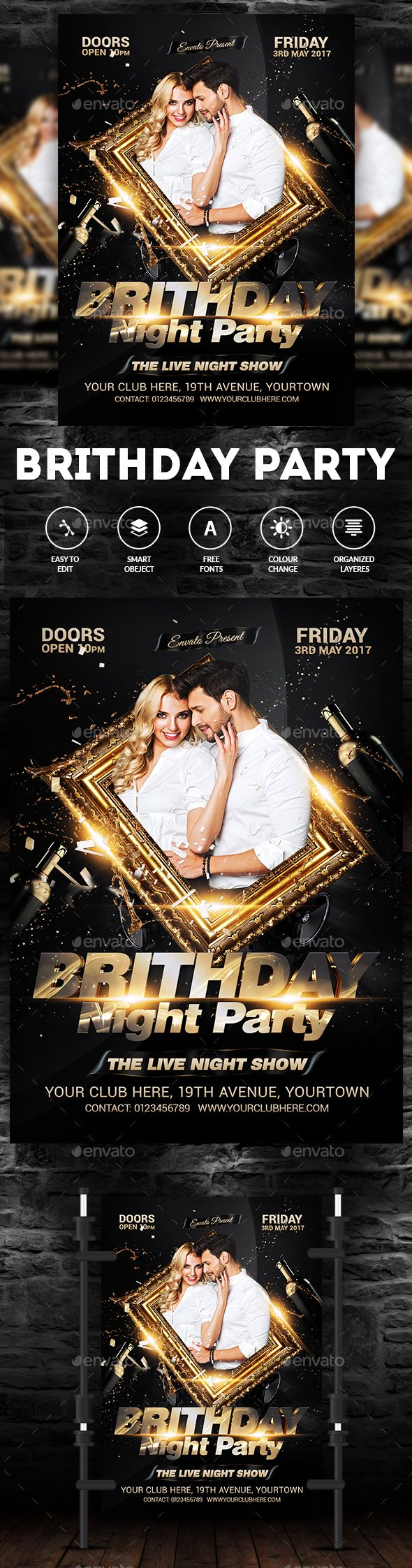 Birthday Party Flyer — Photoshop PSD #celebration #birthday party • Available here → https://graphicriver.net/item/birthday-party-flyer/18040747?ref=pxcr