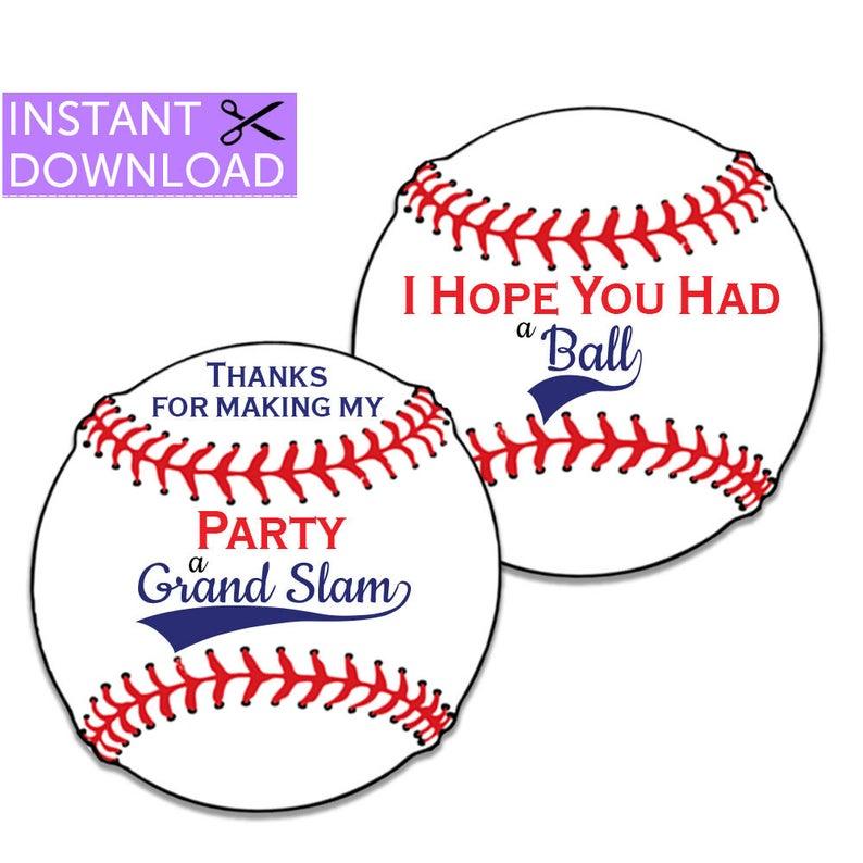 Baseball Tags Baseball Thank You Tags Printable Digital Etsy In 2020 Baseball Party Favors Party Favor Tags Baseball Favors