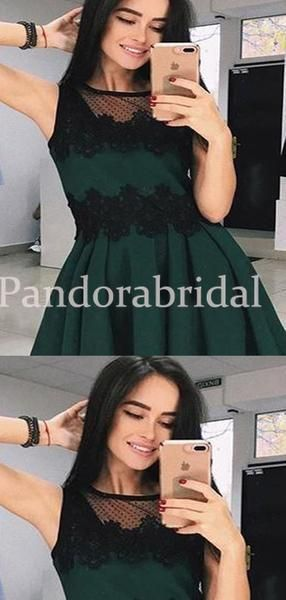 Classy Green Homecoming Dresses With Black Lace, Freshman Homecoming Dresses, VB02661 #lacehomecomingdresses