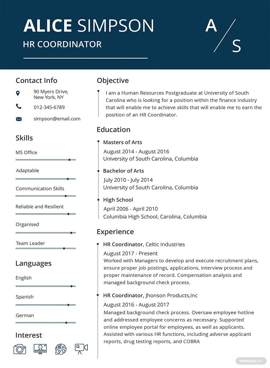 Free HR Resume Format in 2020 Resume template word, Free