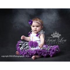 Purple Zebra Birthday Cupcake Pettiskirt Outfit ~ Zebra satin pettiskirt features purple ruffles and a purple satin bow.
