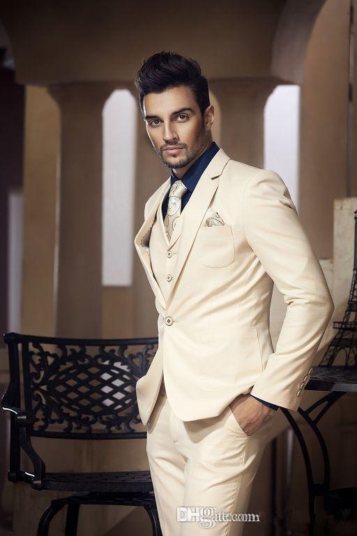 Click to Buy << 2017 Latest Coat Pant Designs Beige Wedding Suit ...