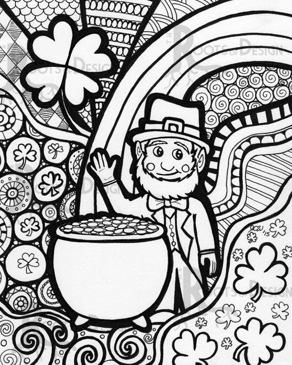 instant download coloring page st patricks day leprechaun print zentangle inspired doodle art
