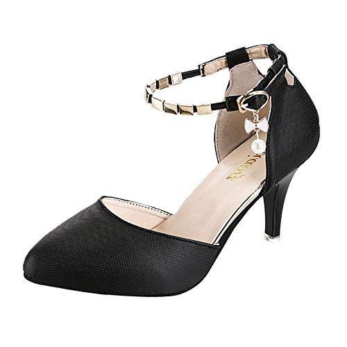 cfebff482f397 OSYARD Femme Escarpins Bride Cheville Sexy Talon Aiguille Plateforme Epais  Fermeture Lacets Chaussures Club Soiree(