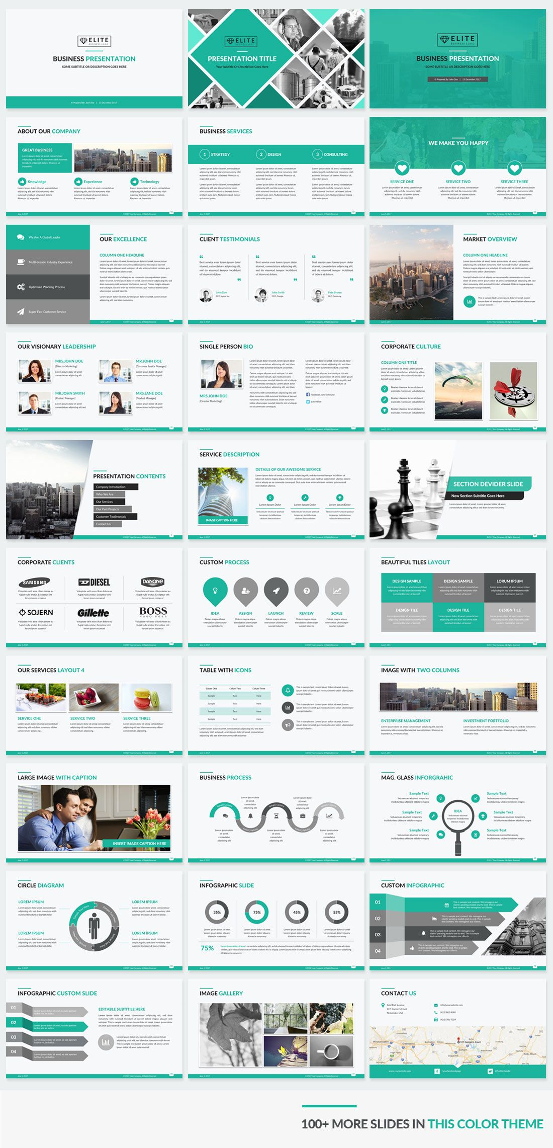 Green Color Corporate Powerpoint Template Small Preview