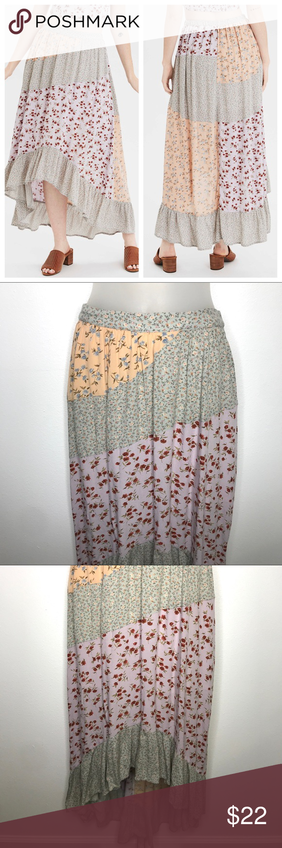 """American Eagle High Waisted Patchwork Midi Skirt S Excellent condition! Absolutely no rips, tears or stains! Made from a lightweight fabric, print mix. Style 0317-2863. Sold out in this size online!  100% viscose. Machine wash.   Flat Measurements: Length - 26""""-42"""" (hi-low) Waist - 13""""-16"""" (relaxed to extended)  No modeling. No trades. American Eagle Outfitters Skirts Midi"""
