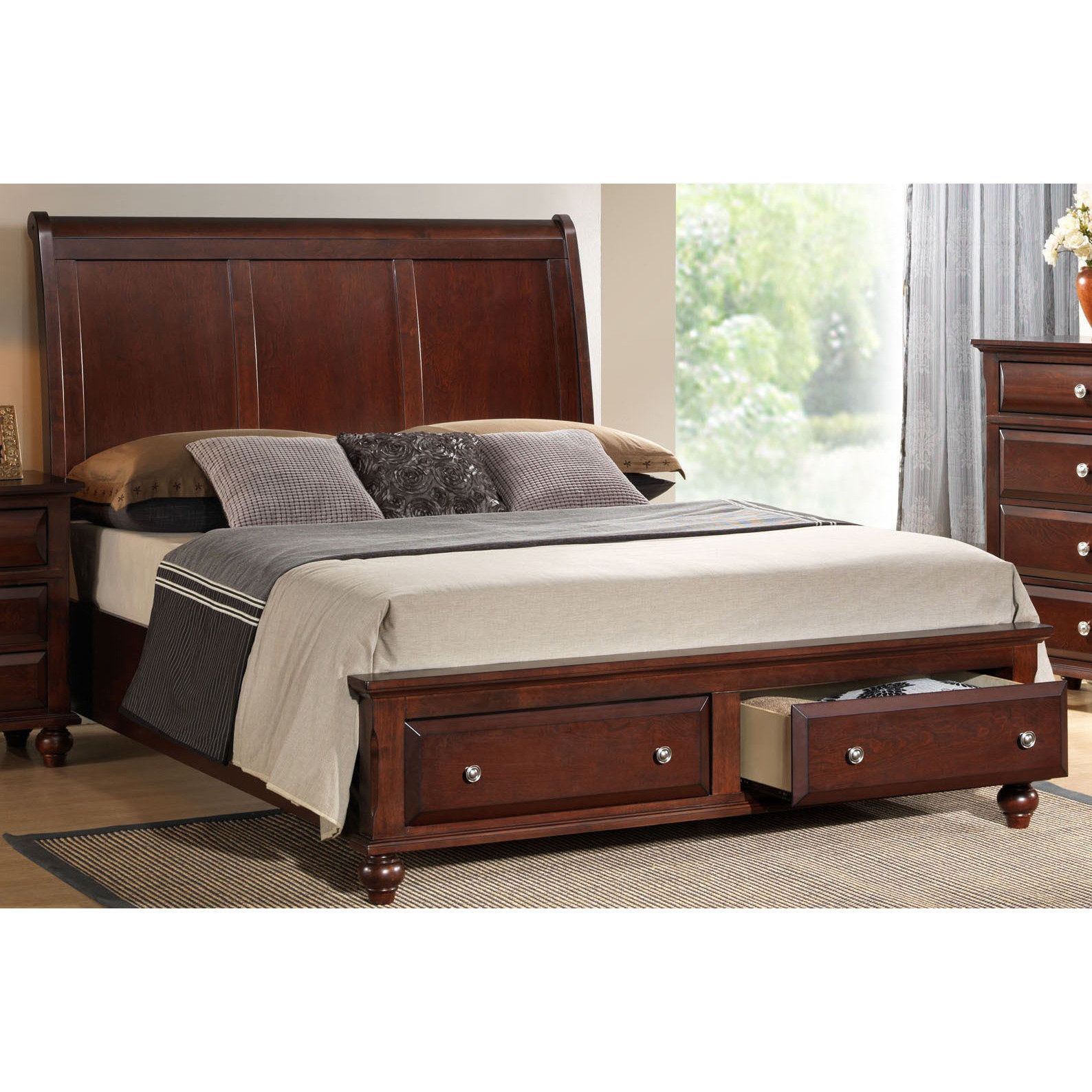 Furniture Bedroom Beds Queen Cherry