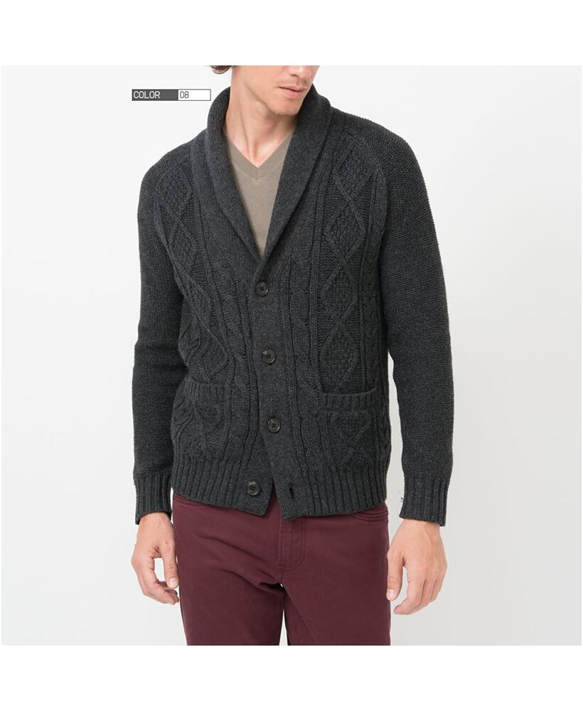 MEN HEAVY GAUGE SHAWL COLLAR CARDIGAN #buy in dark grey as ...