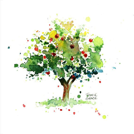 Apple Tree Watercolor Painting By Traciegraceriesgo On Etsy Tree