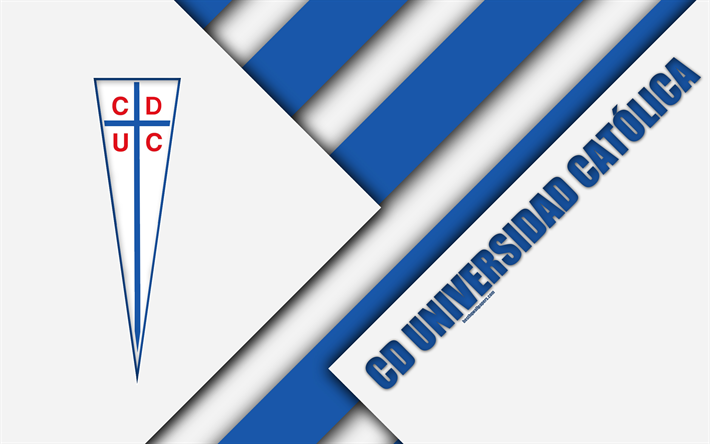 Download Wallpapers Club Deportivo Universidad Catolica 4k Chilean Football Club Material Design White Blue Abstraction Logo Emblem Santiago Chile Chil Universidad Catolica Futbol Universidad Catolica Catolico