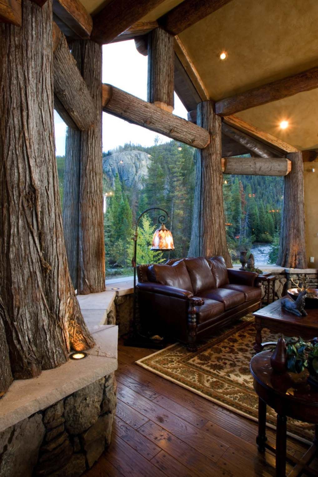 21 luminous modern living rooms showcasing forest views on modern cozy mountain home design ideas id=85641