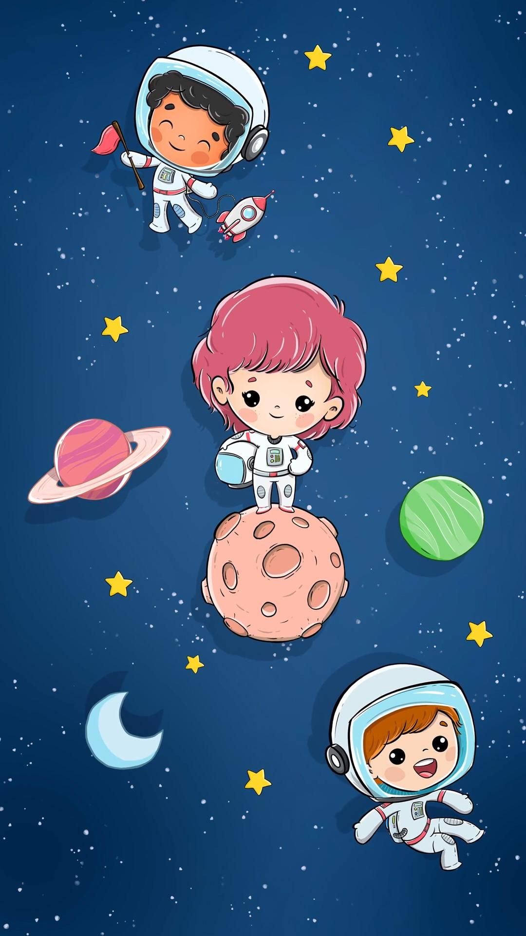 Children floating in space in astronaut suits with planets and stars