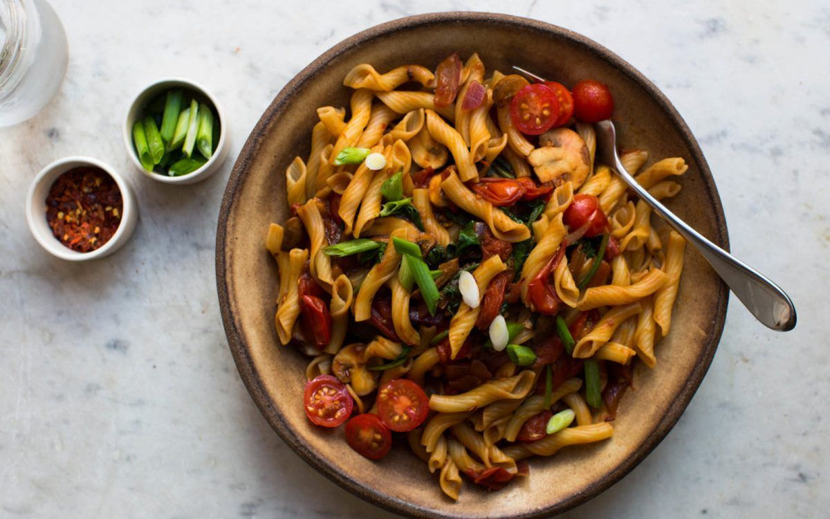 Miso and Eggplant Pasta [Vegan, Gluten-Free] | One Green Planet