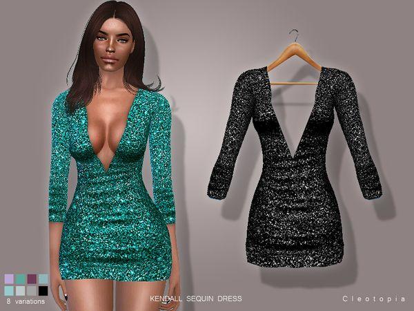 Cleotopia's Set71- KENDALL Sequin Dress | Sims 4 dresses ...