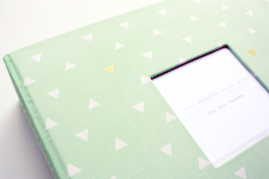 Mint Green Gold Triangle Modern Baby Book