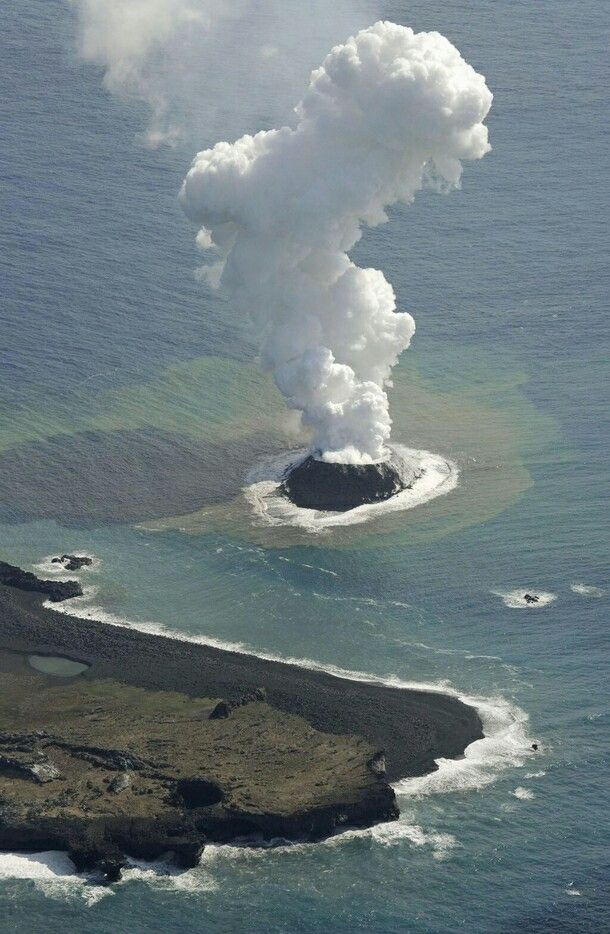 A Volcanic eruption in the Pacific Ocean creates new island near Japan