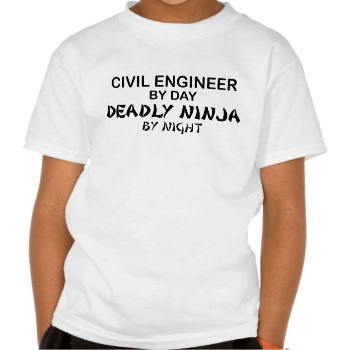 Civil Engineer Deadly Ninja by Night Tee T Shirt, Hoodie - civil engineer