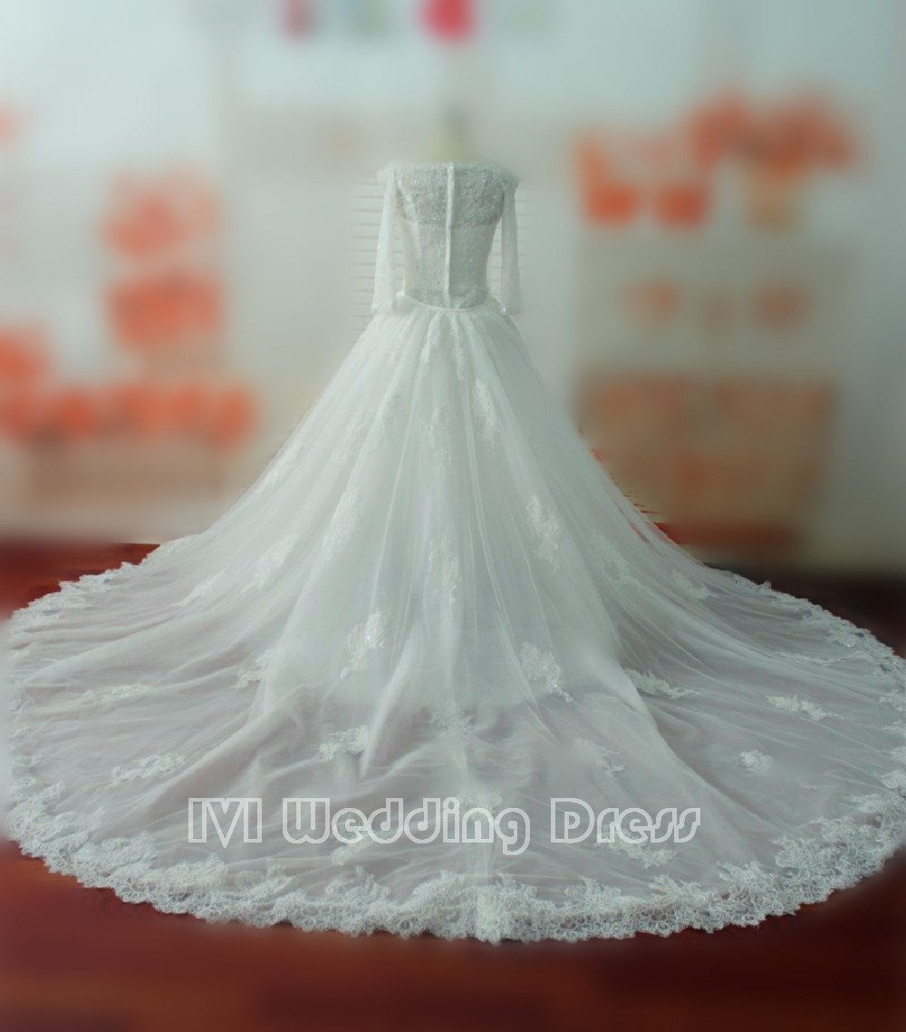 Queen anne neckline long sleeves mermaid lace wedding dress with