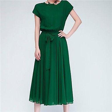Verano Nueva gasa del palo de la manga del vestido flojo grande de las yardas más largo de la correa - USD $ 24.49