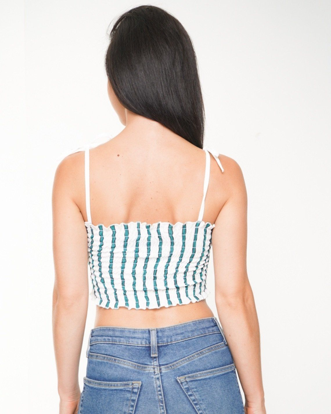 Nina Striped Smocked Crop Top In Green
