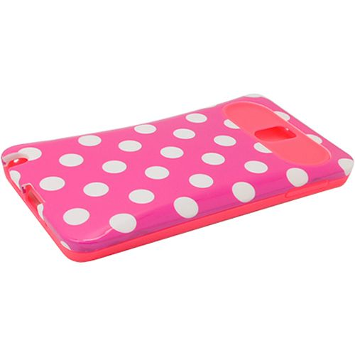 Two Tone Back Cover for Samsung Galaxy Note 3, White Dots Hot Pink