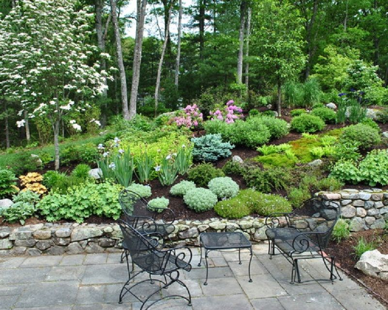 beautiful hillside garden patio